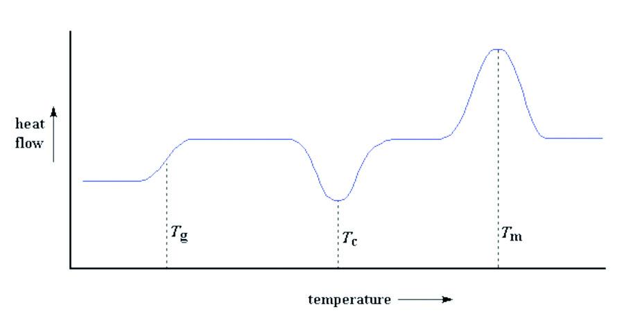 Misura della temperatura di transizione vetrosa (Tg), della temperatura di cristallizzazione (Tc) e della temperatura di fusione (Tm) di un polimero.